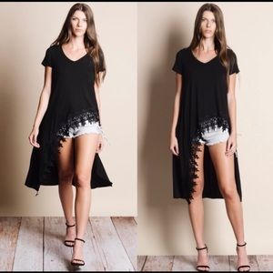 Black Crochet High/low Blouse